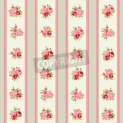 Póster Shabby Chic Rose Patterns and seamless backgrounds