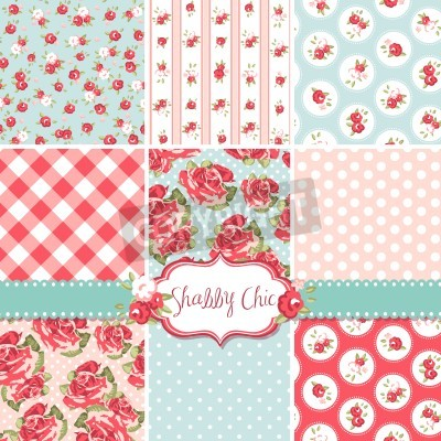 Póster Shabby Chic Rose Patterns and seamless backgrounds. Ideal for printing onto fabric and paper or scrap booking.