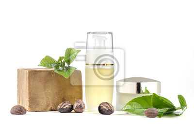 Shea Butter nuts and leave, with cosmetic products