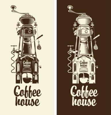 Póster Sign Casa de café retro y amoladora con techo