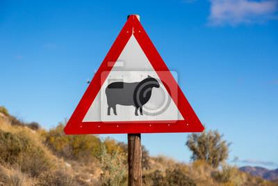 Signo de advertencia sobre las ovejas en el camino en el norte de Sudáfrica