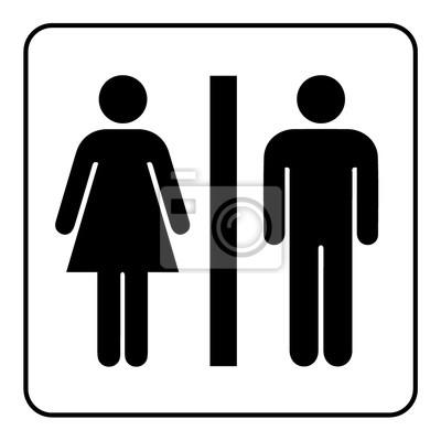 4f746ac3a9e6 Póster: Signo de baño. icono de baño masculino y femenino que denotan
