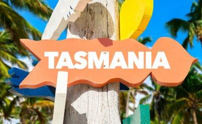 Póster Signo de bienvenida de Tasmania con palmeras