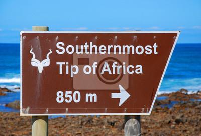 signo de Cape Agulhas (Sudáfrica): El punto más al sur de A