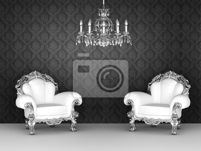 Sillones de lujo en interior barroco fondos de pantalla ornamento