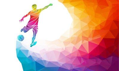 Póster Silueta creativa del jugador de fútbol. Jugador de fútbol patea la bola en arco iris multicolor abstracto de moda del arco iris