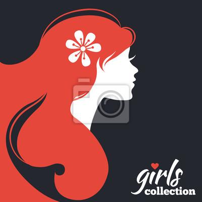 Silueta De La Mujer Hermosa Con Las Flores Colección Girls Carteles