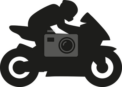 Silueta del conductor de la moto