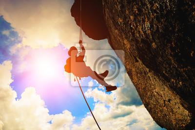 Silueta del escalador de roca