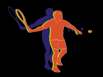 Póster Silueta jugador de tenis, dibujo vectorial