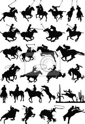 Siluetas de caballos vector mezcla