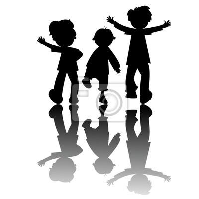 siluetas de los niños aislados en el fondo blanco