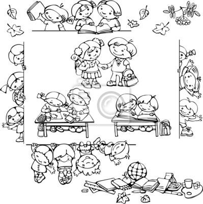 siluetas de los niños de la escuela
