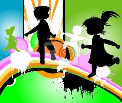 siluetas de niños corriendo y saltando