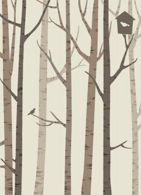Póster Siluetas decorativas de árboles con un pájaro y birdhouse