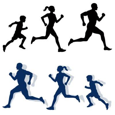 Póster Siluetas jogging familiar