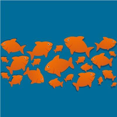 Póster Siluetas poissons
