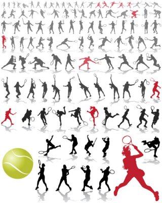 Póster Siluetas y sombras de los jugadores de tenis, ilustración vectorial