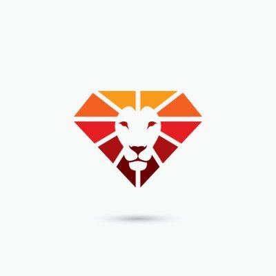 Póster Símbolo del león del diamante del fuego