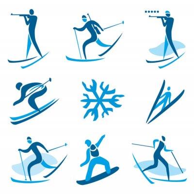Póster Símbolos del deporte de invierno