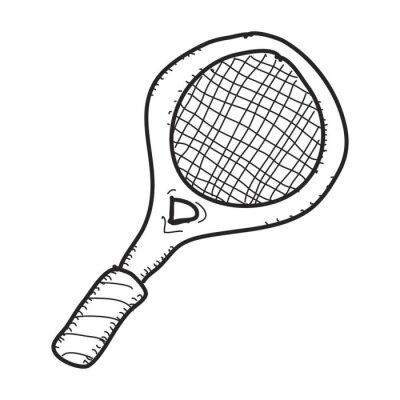 Póster Simple doodle de una raqueta de tenis