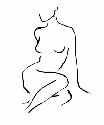 Póster Simple hand drawn trendy line silhouette woman. Modern minimalism art, aesthetic contour. Abstract women's silhouette, minimalist style. Scandinavian print