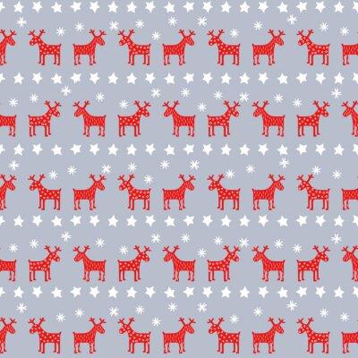 Póster Simple retro sin fisuras patrón de Navidad - renos de Navidad, estrellas y copos de nieve. Fondo feliz año nuevo. Diseño del vector para las vacaciones de invierno en el fondo gris.
