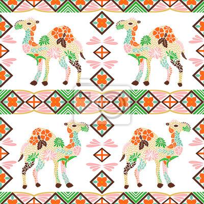 Póster Sin fisuras patrón de camello hecho de flores, hojas en el estilo bohemio. Estampado animal, repetir patrón tribal. Motivo imprimible árabe, indio, turco para tela, fondo, rellenos de patrón, etc. Vec