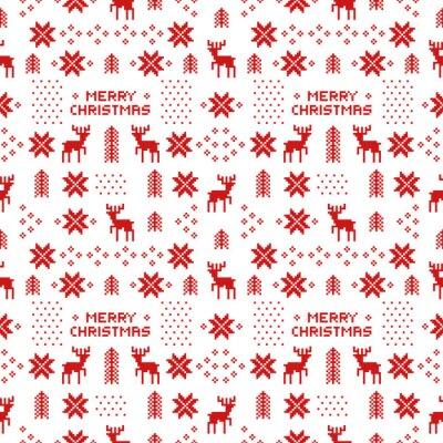 Póster Sin fisuras retro rojo patrón de navidad con venados, árboles y copos de nieve