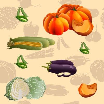 Póster Sin patrón vegetales patrón: maíz, calabaza