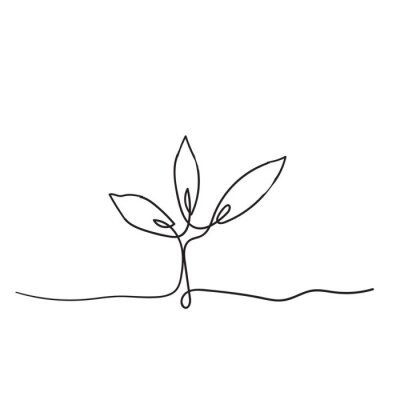 Póster Single continuous line art growing sprout handdrawn doodle style