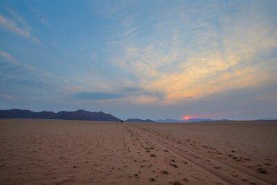 Single dirt tracks straight through the desert to the mountain