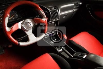 Sintonizado el deporte automóvil. Interior de lujo de terciopelo rojo