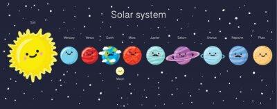 Póster Sistema solar con los planetas, el sol y la luna sonrientes lindos.