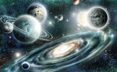 Póster Sistema solar y la galaxia espiral