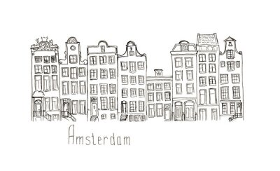 Póster Sketch Países Bajos Amsterdam casas aisladas letras