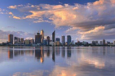 Póster Skyline of Perth, Australia across the Swan River at sunset