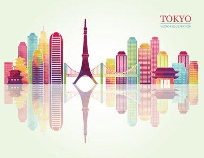 Póster Skylines detallados de Tokio. Ilustración vectorial
