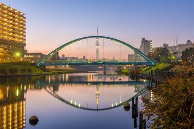 Póster Skytree y colorido puente en refacción