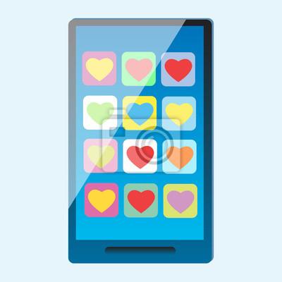 Smartphone con corazones multicolores en la pantalla
