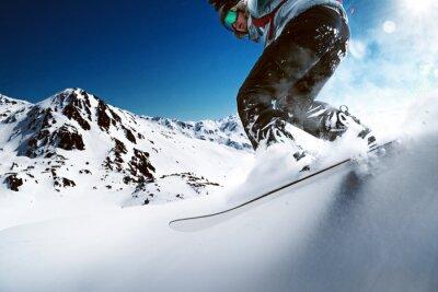 Póster Snowboarder, cuesta abajo