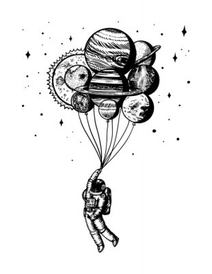 Póster Soaring Spaceman. Astronaut with planets. Balloons in space. Man in the solar system. Engraved hand drawn Old sketch in vintage style.