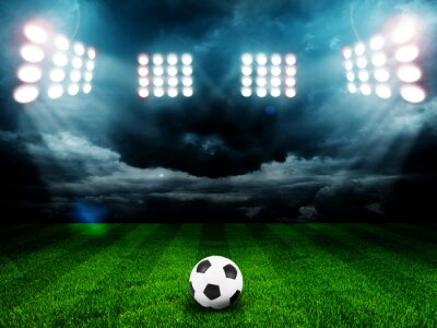 Póster Soccer ball on the field of stadium with light
