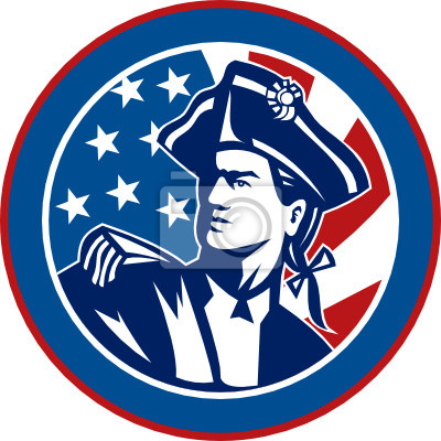 soldado revolucionario americano con barras y estrellas de la bandera