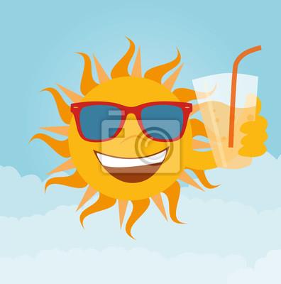 Sonne mit Glas Limo en la mano con la mano en la parte trasera Vektor