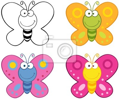 Sonreir Mariposas De Dibujos Animados Mascota Characters Collection