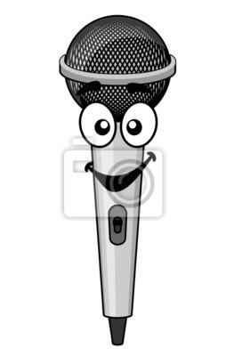 Sonreír Micrófono De Dibujos Animados Carteles Para La Pared