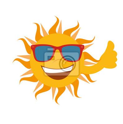 Sonrisas de Sun con las gafas de las Naciones Unidas celebra el pulgar hacia arriba - Stock exento