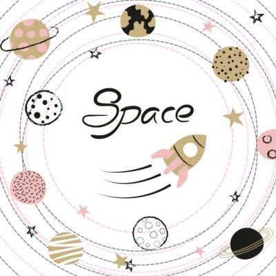 Póster Space vector illustration with hand drawn planets and rocket for kids.