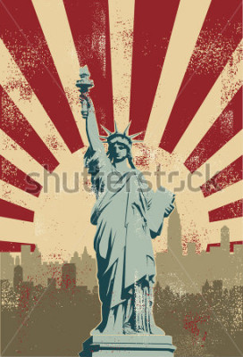 Póster Statue of Liberty, New York City, vector